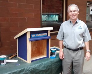 Bob with free little library